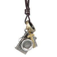 Wholesale Punk Camera - Rock Punk Pendant Fashion Men Women Adjustable Genuine Leather Camera leather cord necklace Vintage individuality Style