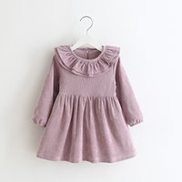 Wholesale Cotton Corduroy Girl Dress - Sweet Girls Corduroy Ruffles Party Dress Candy Color Fleece Lining Fall Winter Holiday Party Dress Christmas DRESS