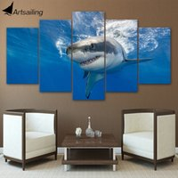 Wholesale Ocean Painting Piece - HD Printed 5 Piece Canvas Art Abstract Shark Painting Blue Ocean Large Wall Pictures for Living Room Free Shipping CU-1849C