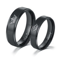 Wholesale Ip Set - Beichong IP Black plated color 316L stainless steel HIS QUEEN and HER KING couple rings for lovers