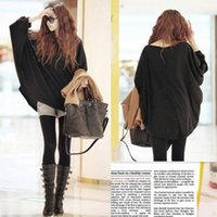 Wholesale Korean Top Wear New - Wholesale-2016 New Korean Design Printed Women Sweater Loose Pullovers Batwing Tops Shirt Long Sleeve Knitted Pull Femme Women Casual Wear