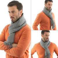 Wholesale Men Scarf Knitting Patterns - Wholesale-2016 New autumn & winter mens scarves,classical Gird pattern Man Scarf shawl fashion Cotton Cashmere Knitting Wrap,ATW