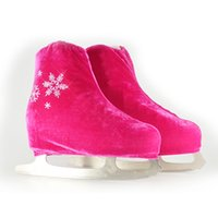 Wholesale velvet figure - Wholesale- 24 Colors Child Adult Velvet Ice Figure Skating Shoes Cover Solid Color Roller Skate Accessories Athletic Rose Red Snow Pattern