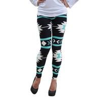 plus größe leggings farben großhandel-Großhandels- Neue Frauen plus Größe Tribal Aztec Printed Leggings 9 Farben lange weiche Größe S-XL Hot LL2