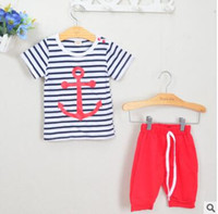 Baby Boys Outfits 2017 Estate Ins Insegne Toddler Striped Abbigliamento Short Sleeve Anchor T-Shirt Baby Boy Shorts Abbigliamento Baby Boys Abbigliamento 268