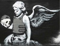 freie wohnzimmerbilder großhandel-Moderne engel wandkunst HD Malerei Auf Leinwand einzigen niedlichen engel mit schädel Druckt Bilder Dekor Für Wohnzimmer kostenloser versand