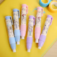 Grossiste-Mignon Stylo Stylo Stylo Stylo Gomme Kawaii Bleu Violet Rose Couleurs Erasers Papeterie Kid Gift Toy School Supplies