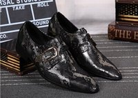 oxford suite - 2017 MEN leather Dress shoes pointed toe Buckle fashion snake suite business shoes evening party Wedding Chaussure Homme Oxfords