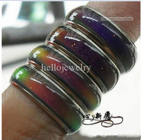Wholesale Tension Set Couples Rings - 100pcs mix size mood ring changes color to your temperature reveal your inner emotion