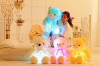 Wholesale lead farm - Creative Light Up LED Inductive Teddy Bear Stuffed Animals Plush Toy Colorful Glowing Teddy Bear Christmas Gift for Kids