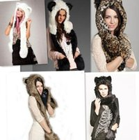 Wholesale derby style hats online - 8 Styles Animal Fur Cap One Piece Winter Hats Women Cartoon Winter Cap Beanie With Neck Warmer Scarf Womens Hats Beanies CCA7467