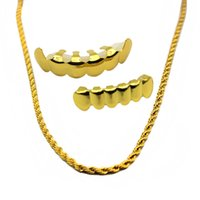 Wholesale Dental Chain - New Gold Plated Hip Hop Teeth Grillz Caps Top & Bottom Vampire Grill Set with 6mm Golden Rapper's Chain Necklace