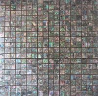 Wholesale Seashell Tiles - Natural Abalone Green Seashell Mosaic Tiles Mini Square Seashell Tiles for Kitchen or Bathroom Backsplash
