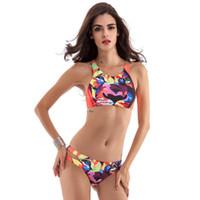 Wholesale New Retro High Neck - 2017 New Sexy High Neck Bikinis Set Swimwear Cut Out Swimsuit Retro Halter Bikini Brazilian Floral Print Summer Beach Bath Suit
