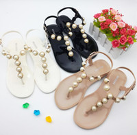 Wholesale Simple Thong - New fashion pearl sandal 2017 summer women's sandal thong sandal simple design students jelly shoes Roman sandals flat base shoes