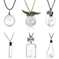 Wholesale Glass Orbs - Wholesale- Glass bottle necklace Natural dandelion seed in glass long necklace Make A Wish Glass Bead Orb silver plated Necklace jewelry
