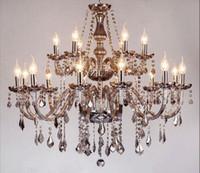 candelabros grises al por mayor-Humo gris sala de estar de lujo dormitorio comedor de lujo candelabro de cristal araña de cristal de iluminación