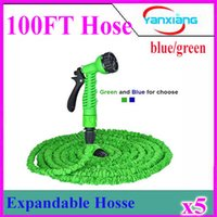 Wholesale Sg Water - 2017 Garden hose 100ft with expandable blue and green water hose + gun high quality WATER GARDEN Pipe Water valve 5pcs ZY-SG-01