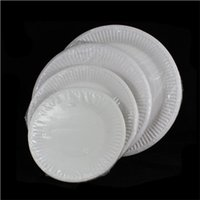 Wholesale Wholesale Dinner Plates Wedding - Wholesale-10 pcs lot new white round paper Dishes for birthday party Disposable Dinner Plates Wedding Party Supplies