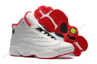 Wholesale Mens Stretch - (With Box) Cheap New Air Retro 13 XIII ALL White Red Mens Basketball Shoes Sneakers Running Shoes For Men Sports Shoe Size 40-47 US 7-13