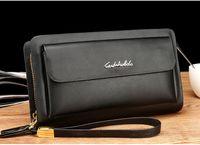 Wholesale Double Clutching - 2017 Famous Brand Leather Men Wallets Double Zipper Black Cover Coin Purse Men's Clutch Wallet Portomonee High Capacity