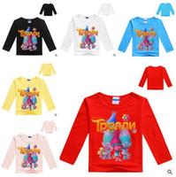 Wholesale Kids T Shirt Cartoon Designs - Baby Clothes T-shirts Girls Tops Cartoon Trolls Moana Shirts Kids Long Sleeve T-shirts Summer Tees Cotton 11 Design Tanks Baby Kids Cothing