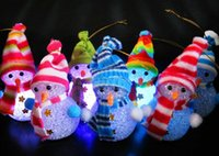 Wholesale Led Color Changing Snowman - New Arrive Color Changing LED Snowman Christmas Decorate Mood Lamp Night Light Xmas Tree Hanging Ornament