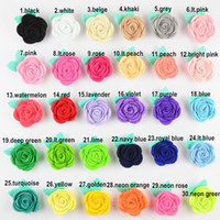 "Wholesale Girls Rosette Hair - coming 2"" DIY rosette flowers,multi rose flower Felt flowers girls hair accessories 120pcs 30colors"