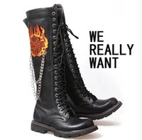 Wholesale Rock Cowboy Boots - Wholesale- Tall canister boots male knight punk cos game dota joker wellingtons chains flame men rock boots locomotive punk cowboy boots