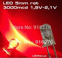 luz do mcd venda por atacado-1 K High Bright LED 5mm contas de luz LED vermelho 3000 mcd 1000 pçs / lote, frete grátis