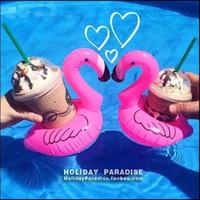 agujero de juguete al por mayor-Drinking Inflatable Cup Holders Posavasos Pvc Inflat Toys Agua Mobile Phone Holder Pink Flamingo Single Hole Coaster 1 45jr