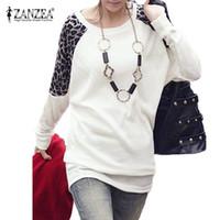 Wholesale Korean Tee Shirts Wholesale - Wholesale-Zanzea Fashion New T Shirt Women 2016 Korean Style Batwing Sleeve Tops Tee Leopard Long Shirt tshirt Women Plus Size Blusas