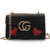 Wholesale Two Hearts Vintage - women bag heart-shaped shoulder bag high quality women small messenger bags brand leather Vintage bag chains handbag 2017 NEW