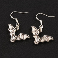 Wholesale Wholesale Flies China - Flying Bat Animal Earrings 925 Silver Fish Ear Hook 40pairs lot Antique Silver Chandelier E979 32.6x23.9mm