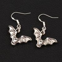 Wholesale Flying Bats - Flying Bat Animal Earrings 925 Silver Fish Ear Hook 40pairs lot Antique Silver Chandelier E979 32.6x23.9mm