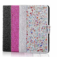 Wholesale Raindrop Iphone Cases - Luxury Full Inlay Diamond Raindrops Flip Cover Wallet Phone Cases For iphone 6 6S 7 plus Case With Holders Card Slot OPP BAG