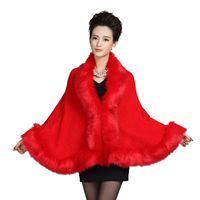 Wholesale Ladies Leather Coat Fox Collar - Womens Leather Grass Fox Fur Collar Poncho Cape Bridal Winter Wedding Cloak Dress Shawl Cape Lady Wool Vest Fur Coat DN001