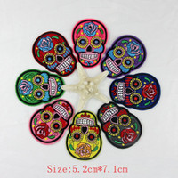 Wholesale Wholesale Flower Motif - 24pcs lot Flower Skull Skeleton Embroidery Iron On Patches Clothes Appliques Sew On Motif Badge DIY Clothing Bag Garment Accessories