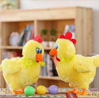divertidos cantando juguetes de navidad al por mayor-1 unids 30 cm muñeca divertida gallina cruda gallinas pondrá huevos de pollos locos cantando y bailando mascota eléctrica juguetes de peluche juguete de Navidad