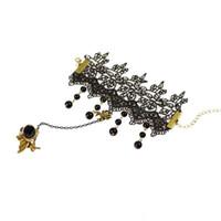 pulsera de encaje de diamantes al por mayor-Diamond Spider Butterfly Charm Pulseras de Encaje Negro Anillo de Dedo Para dama mujeres Declaración Joyería de Boda Regalos de Navidad