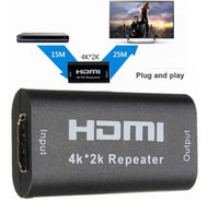 Wholesale Hdmi Boosters - 100pcs lot HDMI Repeater 1080P 3D HDMI 4K*2K Repeater Extender Booster Adapter Over Signal HDTV Up To 40M