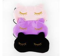 kediler göz maskesi toptan satış-Cucommax Sevimli Kedi Uyku Göz Maskesi Şekerleme Karikatür Göz Gölge Uyku Maskesi Sleeping-MSK03 için Gözler Üzerinde Siyah Maske ...