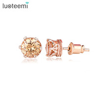 Wholesale Cubic Zirconia Stud Earrings Cheap - Luoteemi Brand Simple Design Cheap Rose Gold-Color CZ Crystal Small Stud Earrings Fashion Earring for Women Daily Wear Jewelry