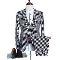 Wholesale White Vest Blazer For Men - tuxedo men plus size M-XXXXXL Plaid suit for man 2017 hot sale wedding suit 3 pcs blazer + pants + vest black and white suit