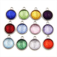 Wholesale Mobile Phone Dangle Charms - 12 colors Birthstone 15*18mm Dangle Pendant Hang Charm Fashion Jewelry Fit Necklaces bracelet key chains mobile phone straps