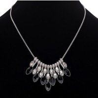 Wholesale Gemstone Silver - Gorgeous Womens Party Necklaces Geometric Manmade Gemstone Silver Tone Statement Necklaces Gifts For Her Chokers Necklaces