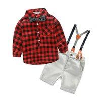 Wholesale Wholesale Little Boys Jeans - Little boys sets fashion baby kids bows plaid long sleeve shirt+suspender short jeans 2pc clothing sets autumn boy cotton clothes T3956
