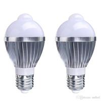 Wholesale Induction Spot Light - E27 led bulb light 5W 7W PIR Auto induction bulbs lamp AC85-265V LED Light Lamp Bulbs human motion sensor led Spot bulb
