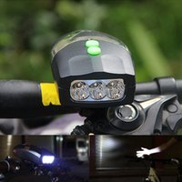 LED Bike Bicycle Light Universal White Front Head Light Lâmpada de ciclismo + Electronic Bell Horn Hooter Siren Waterproof Lights