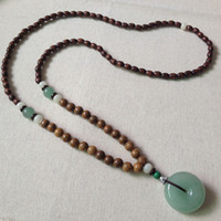 Wholesale Men Wooden Necklaces - Folk style handmade wooden beads Aventurine sweater chain beads necklace China men women long pendant accessories
